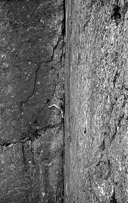 Rusty Baillie starting up Cenotaph Corner, Dinas Cromlech, Llanberis Pass.
