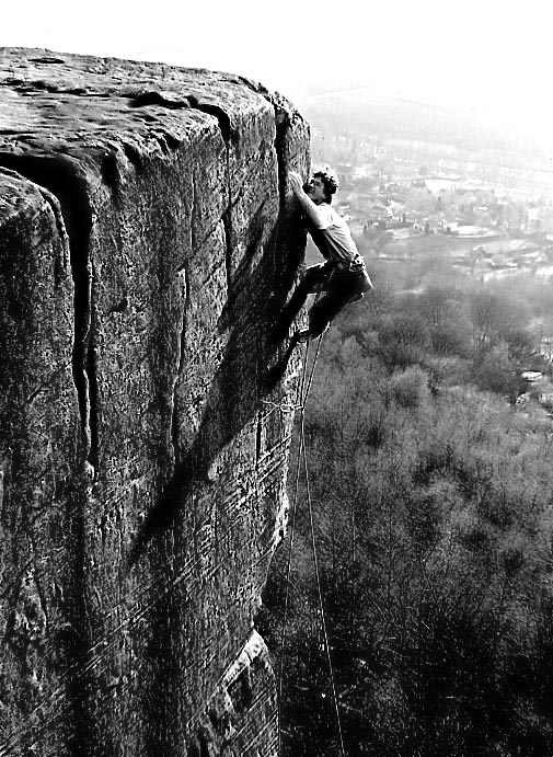 Frist ascent of Beau Geste by Johnny Woodward at Froggatt