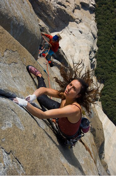 Jimmy Chin's image of Steph Davis on Salathe Wall, Yosemite Valley