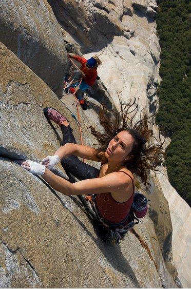 Jimmy Chin's image of Steph Davis on Salathe Wall, Yosemite Valley