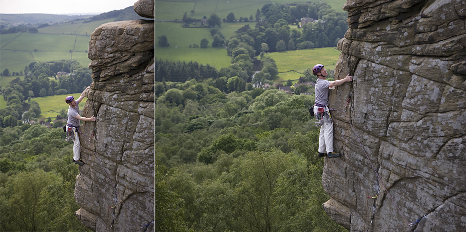 Climbers on Chequers Buttress, Froggatt Edge