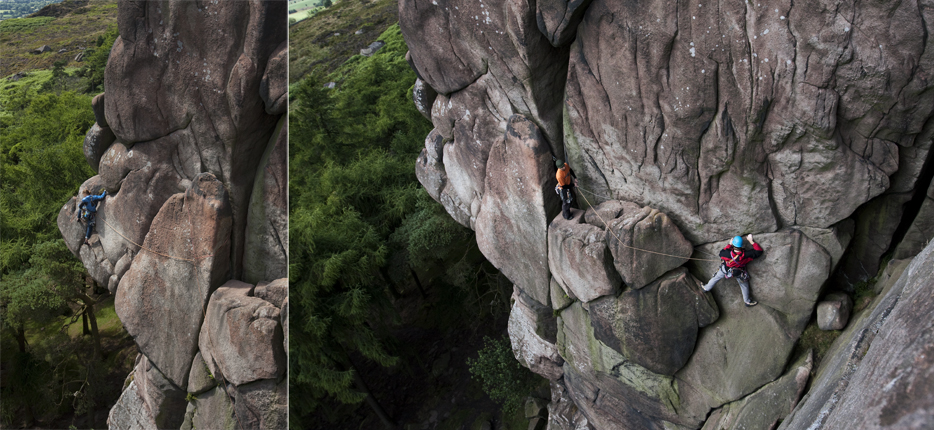 Climbers on Valkyrie, VS 4c, at the Roaches