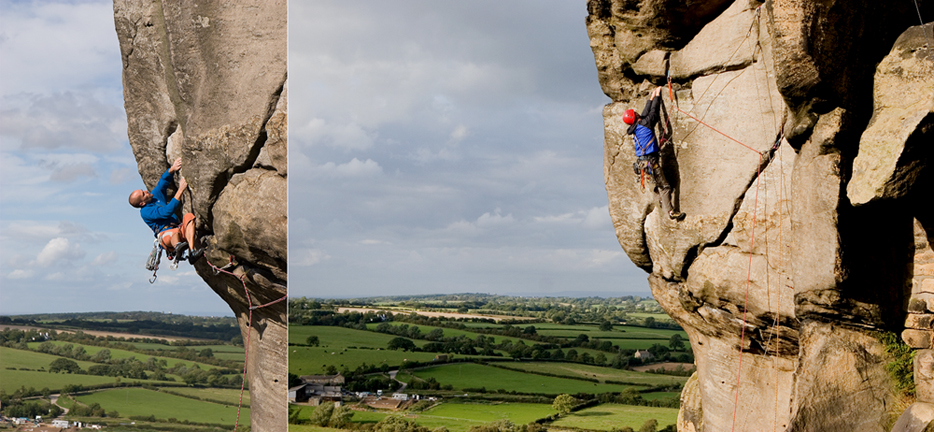 Climbers on Western Front and Great Western at Almscliff