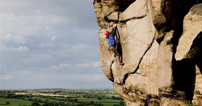 Gritstone ground shot climbing photograph