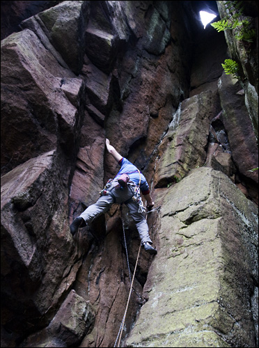 A headless climber shot taken from a poor position