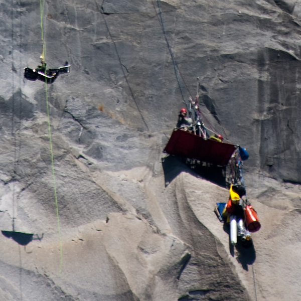 The crew filming Steve's ascent.